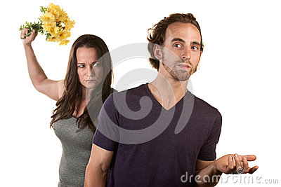 Angry Woman with Flowers and Naive Man