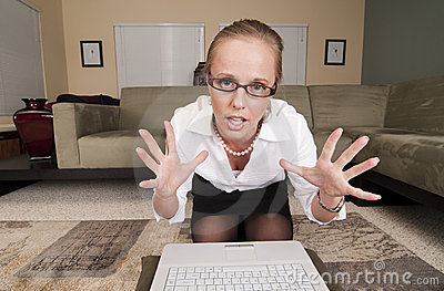 Angry Woman with Laptop Computer