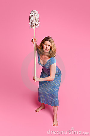 Angry woman with mop