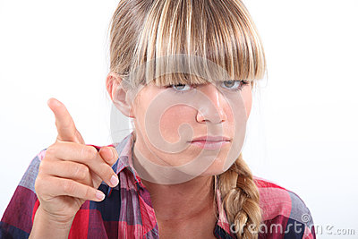 Angry woman pointing finger