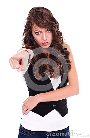 Angry woman pointing to us
