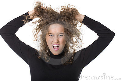 Angry woman pulling hair