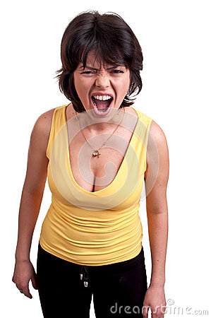 Angry woman shouting isolated on white background