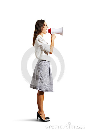 Angry woman shouting at megaphone