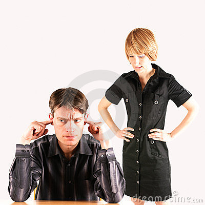 Angry woman and stressed man