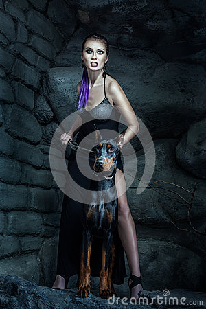 Free Angry Woman With Dog Doberman. Royalty Free Stock Photography - 66679227
