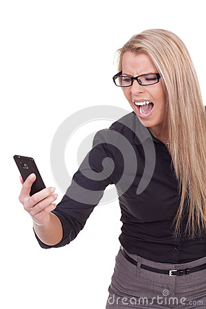 Angry woman yelling at her mobile