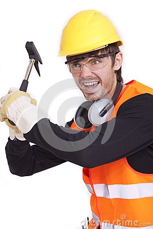 Angry worker with hammer
