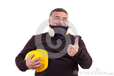 Angry worker pointing at something and screaming