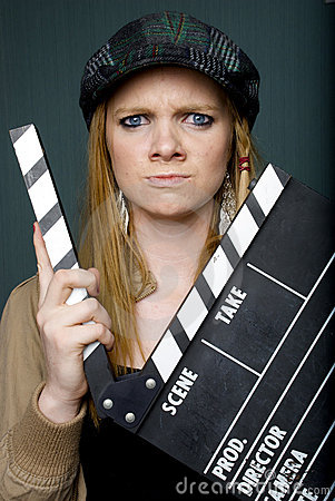 Angry Young Female Director with slate