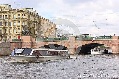 Anichkov bridge and  Fontanka river