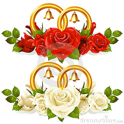Anillos de bodas y manojo de rosas