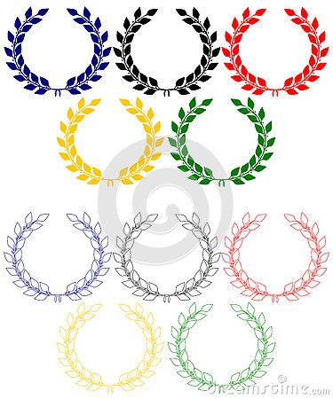 Anillos olímpicos de las guirnaldas del laurel