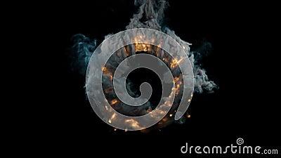 Animação abstrata 3D Efeito belo do incêndio e fumaça de explosão isolada ilustração do vetor