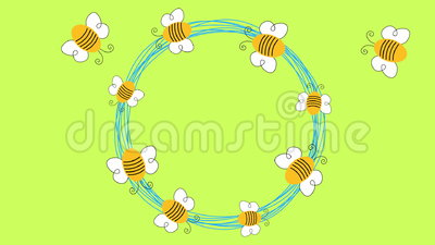 Animação do círculo das abelhas do voo loopable