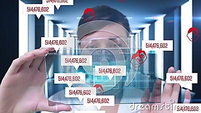 Animação do cientista usando máscara protetora e números crescendo vídeos de arquivo