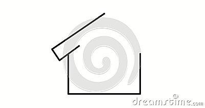 Animação do desenho do auto da casa isolada Vídeo do ícone dos bens imobiliários Edif?cio da arquitetura Fundo branco ilustração do vetor
