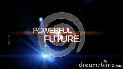 Animação futurista da luz da tecnologia com FUTURO PODEROSO do texto, laço HD 1080p ilustração do vetor