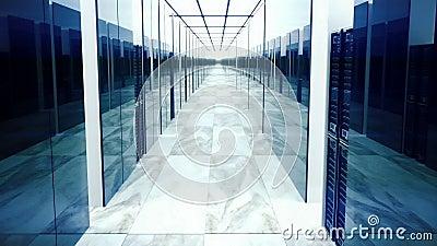 Animación de colocación de los servidores de datos en centro de datos metrajes