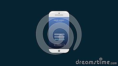 Animación de crear una cuenta en la pantalla del teléfono móvil cree una cuenta en la red social stock de ilustración