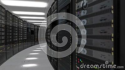Animación de los servidores del estante en centro de datos