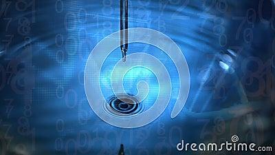 Animación de un cierre del goteo de líquido de una aguja al agua creando ondas en el fondo azul stock de ilustración
