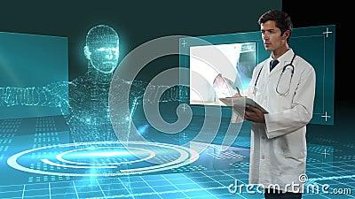 Animación de un doctor escribiendo en un archivo de papeles sobre un modelo de cuerpo humano 3D en segundo plano almacen de metraje de vídeo