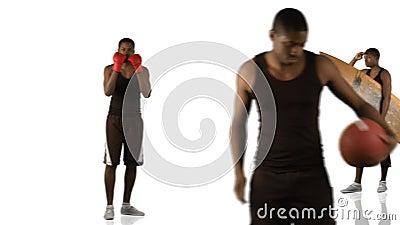 Animación de un muchacho étnico que hace diversos deportes en la alta definición metrajes