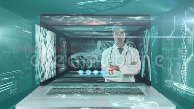 Animación de una pantalla de ordenador portátil que muestra a un médico varón durante una videollamada metrajes