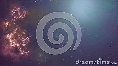 Animaci?n de la nebulosa y de las estrellas del parpadeo que brillan intensamente stock de ilustración