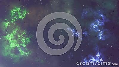 Animaci?n de la nebulosa y de las estrellas del parpadeo que brillan intensamente ilustración del vector