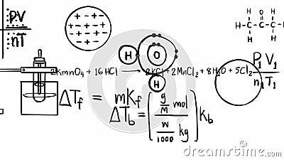Animacja chemii teorii równanie i matematycznie formuła element molekuły więź z chemicznym laboratorium narzędzia ikony chodzenie ilustracja wektor