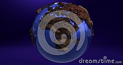 Animacja planety ziemia w błękitnym kolorze i kontynenty robić drewno ilustracji