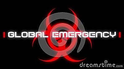 Animacja słowa 'Globalny stan zagrożenia' na czarnym tle royalty ilustracja