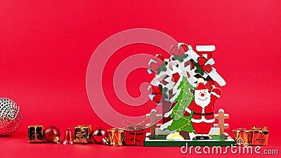 Animacja stop ruchu kulek, prezentów i bisów drewniana figurka Świętego Mikołaja ilustracja wektor