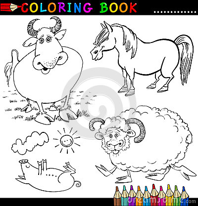Animais de exploração agrícola para o livro ou a página de coloração