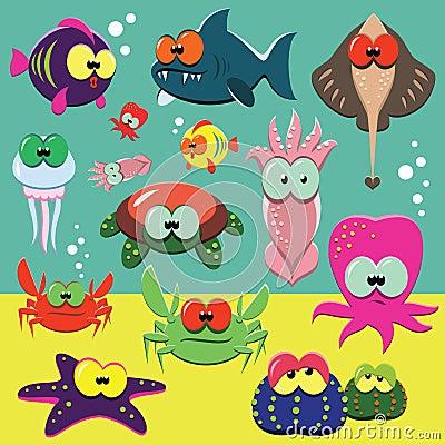 Animais de mar engraçados ajustados