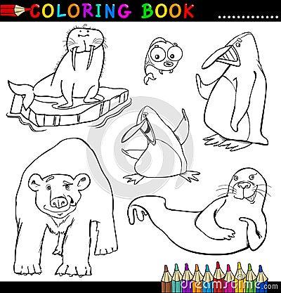 Animais para o livro ou a página de coloração
