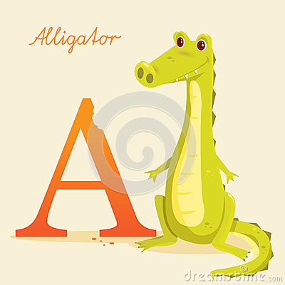 Animal alphabet with alligator