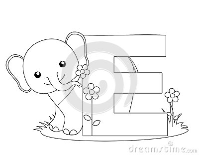 Animal Alphabet E Coloring page