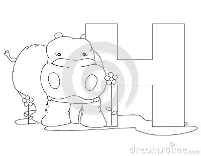 on white background coloring book page graphic h is for hippo