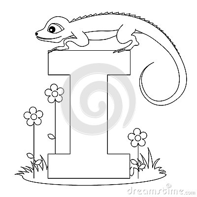 Free Animal Alphabet I Coloring Page Royalty Free Stock Images - 9999179