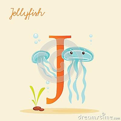 Animal alphabet with jellyfish