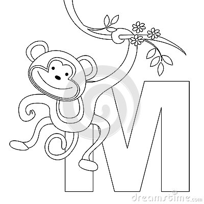 Animal Alphabet M Coloring page