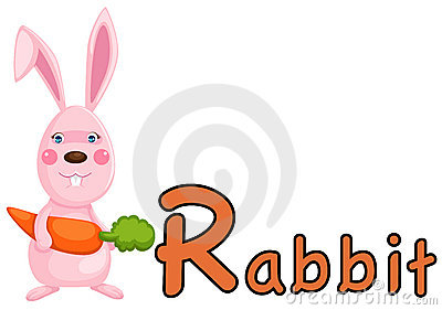 Animal alphabet R for rabbit