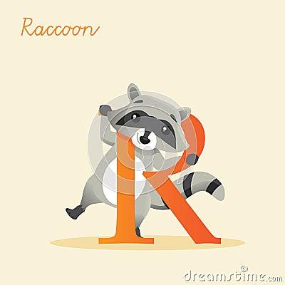 Animal alphabet with raccoon