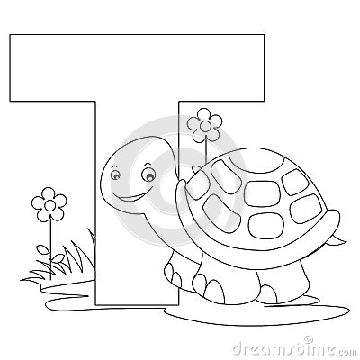 Animal Alphabet T Coloring page