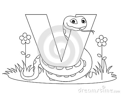 Animal Alphabet V Coloring page