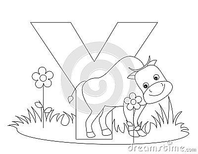 Animal Alphabet Y Coloring page