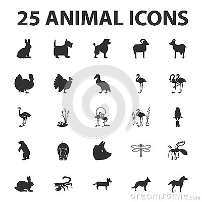Free Animal And Beast 25 Black Simple Icons Set For Web Stock Photography - 65609342